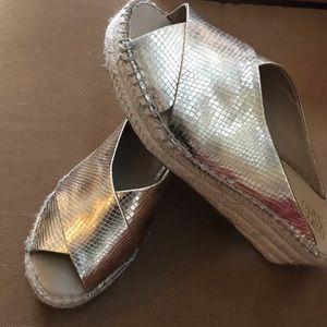 Franco Sarto Gold Faux Snake Skin Sandal